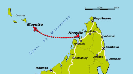 Carte Mayotte - Nosy Be
