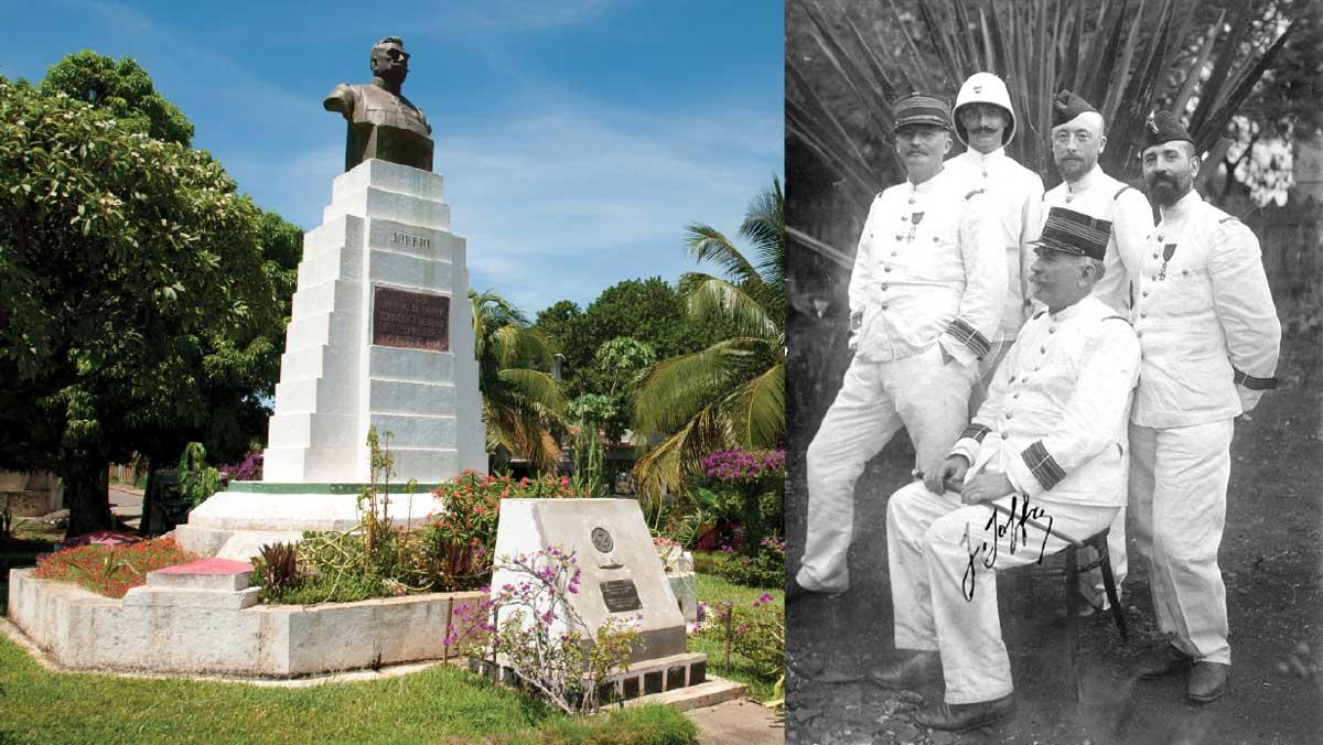 A gauche : la statue de Joffre veille toujours sur le port de Diego Suarez. A droite : Le Colonel Joffre et ses collaborateurs à Diego Suarez en 1901