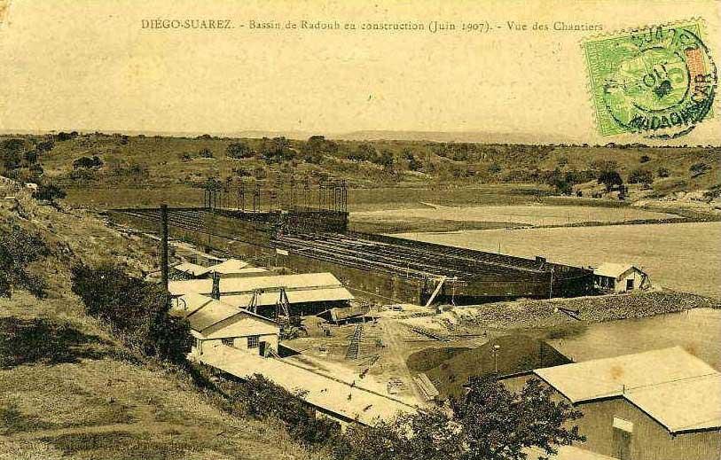 Vue du chantier du bassin de radoub en 1907